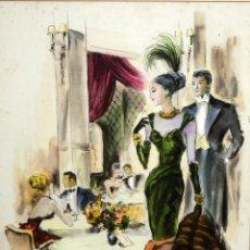 Arte: PERE CLAPERA ARGELAGUER (1906 - 1984) GOUACHE SOBRE PAPEL. PAREJA GALANTE. Lote 129223199