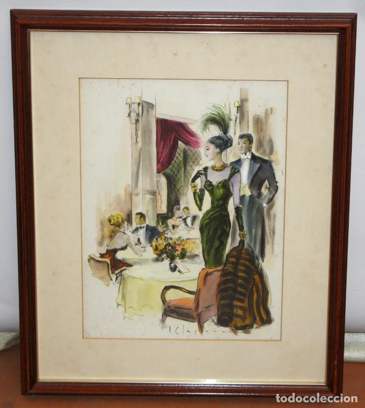 Arte: PERE CLAPERA ARGELAGUER (1906 - 1984) GOUACHE SOBRE PAPEL. PAREJA GALANTE - Foto 2 - 129223199