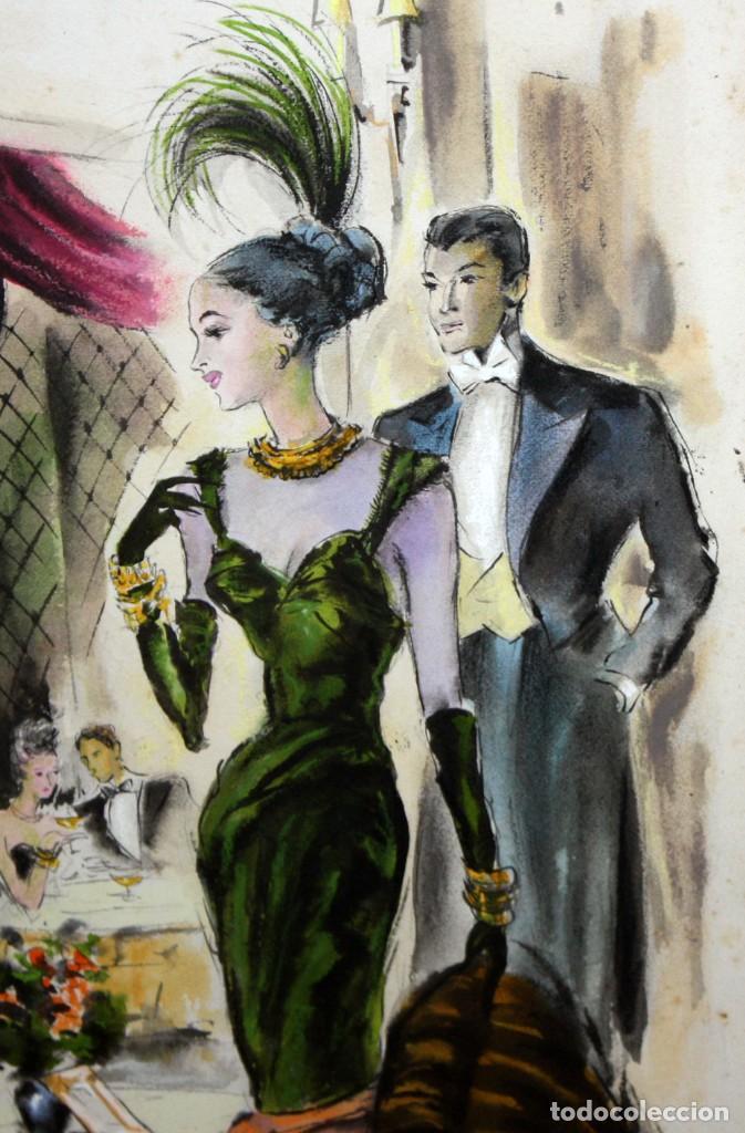 Arte: PERE CLAPERA ARGELAGUER (1906 - 1984) GOUACHE SOBRE PAPEL. PAREJA GALANTE - Foto 3 - 129223199