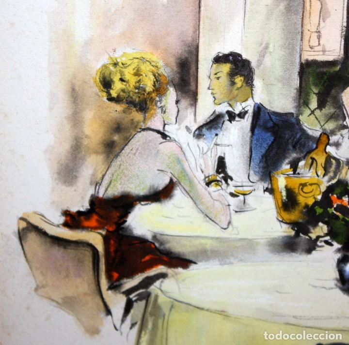 Arte: PERE CLAPERA ARGELAGUER (1906 - 1984) GOUACHE SOBRE PAPEL. PAREJA GALANTE - Foto 4 - 129223199
