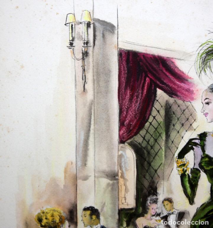 Arte: PERE CLAPERA ARGELAGUER (1906 - 1984) GOUACHE SOBRE PAPEL. PAREJA GALANTE - Foto 7 - 129223199