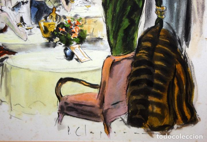 Arte: PERE CLAPERA ARGELAGUER (1906 - 1984) GOUACHE SOBRE PAPEL. PAREJA GALANTE - Foto 8 - 129223199