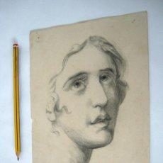 Arte: ANTIGUO BELLO DIBUJO ROSTRO AMBIGUO - ANONIMO S.XIX ACADEMICO. Lote 129390783