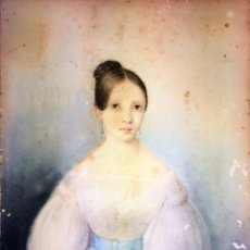 Arte: RETRATO DE ALEJANDRA CHARPENTIER Y LIRE. PASTEL SOBRE CARTÓN. ESPAÑA. CIRCA 1810. Lote 129526395
