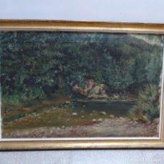 Arte: GRAN OLEO SOBRE TELA FIRMADO E. FERRER 1911.RIELLS.GRAN CALIDAD.. Lote 129654487