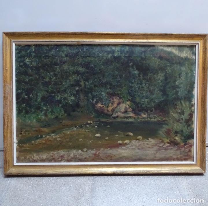 Arte: Gran oleo sobre tela firmado E. Ferrer 1911.Riells.gran calidad. - Foto 2 - 129654487