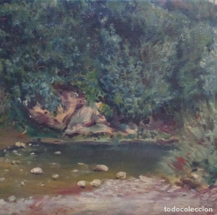 Arte: Gran oleo sobre tela firmado E. Ferrer 1911.Riells.gran calidad. - Foto 3 - 129654487