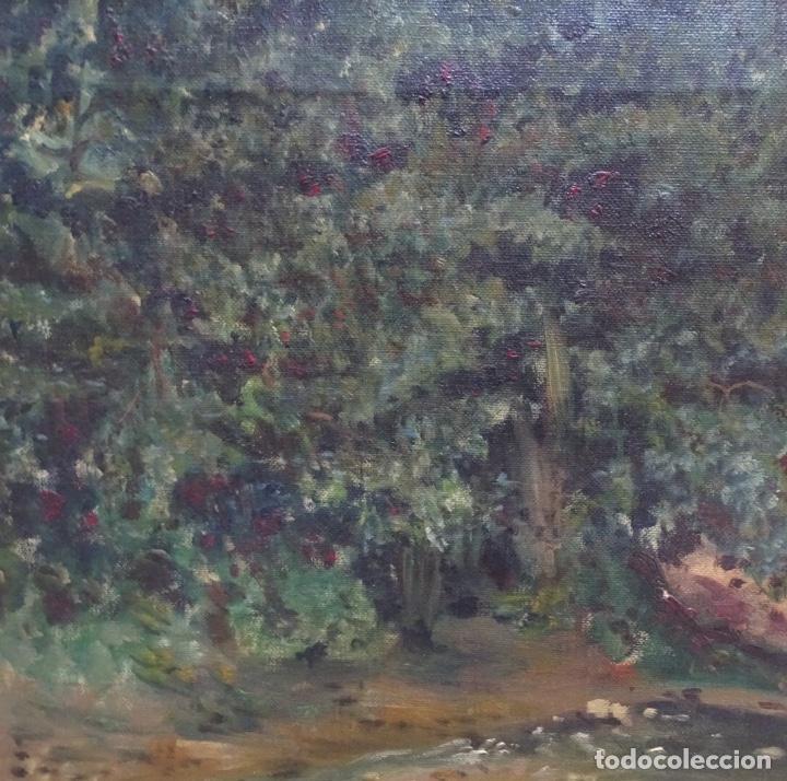 Arte: Gran oleo sobre tela firmado E. Ferrer 1911.Riells.gran calidad. - Foto 5 - 129654487