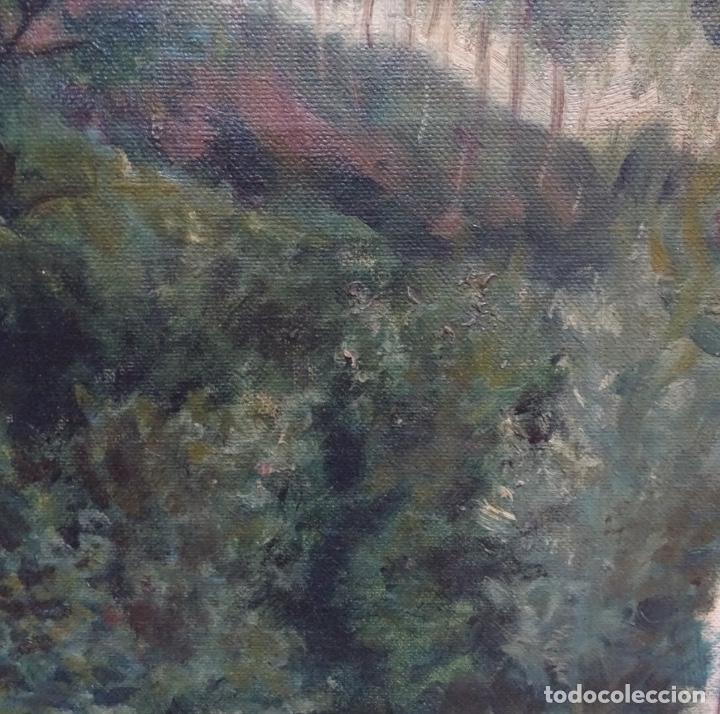 Arte: Gran oleo sobre tela firmado E. Ferrer 1911.Riells.gran calidad. - Foto 6 - 129654487