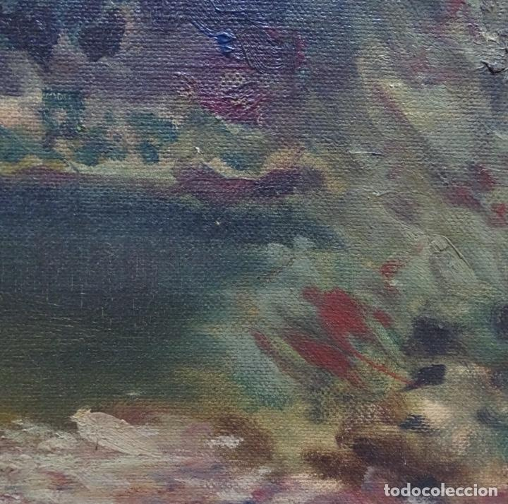 Arte: Gran oleo sobre tela firmado E. Ferrer 1911.Riells.gran calidad. - Foto 7 - 129654487
