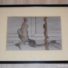 Arte: CUADRO OBRA ORIGINAL SOBRE PAPEL DEL ARTISTA PERECOLL , MATARÓ 1948 ENMARCADO MIDE 31,5 X 41,5 CM.. Lote 130087523