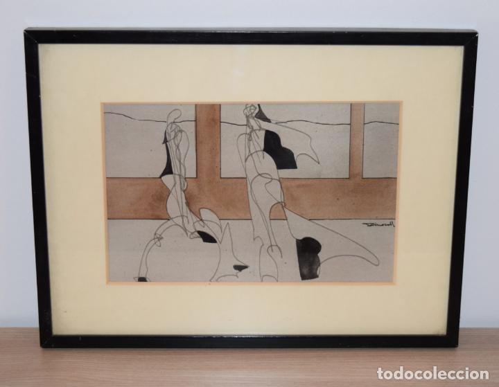 CUADRO OBRA ORIGINAL SOBRE PAPEL DEL ARTISTA PERECOLL , MATARÓ 1948 ENMARCADO MIDE 31,5 X 41,5 CM. (Arte - Dibujos - Contemporáneos siglo XX)