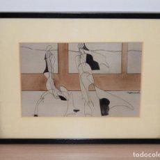 Arte: CUADRO OBRA ORIGINAL SOBRE PAPEL DEL ARTISTA PERECOLL , MATARÓ 1948 ENMARCADO MIDE 31,5 X 41,5 CM.. Lote 130089227