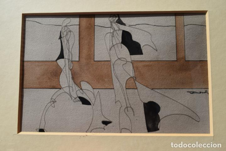 Arte: CUADRO OBRA ORIGINAL SOBRE PAPEL DEL ARTISTA PERECOLL , MATARÓ 1948 ENMARCADO MIDE 31,5 X 41,5 CM. - Foto 3 - 130089227