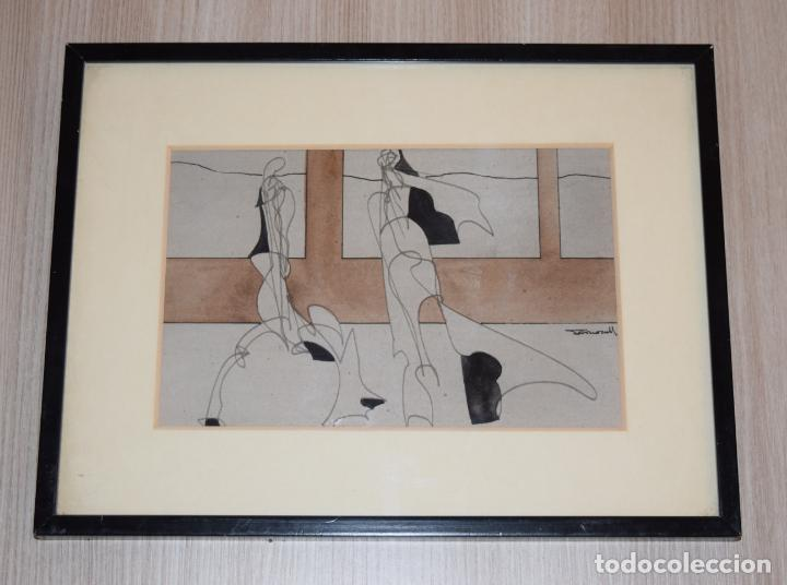 Arte: CUADRO OBRA ORIGINAL SOBRE PAPEL DEL ARTISTA PERECOLL , MATARÓ 1948 ENMARCADO MIDE 31,5 X 41,5 CM. - Foto 4 - 130089227