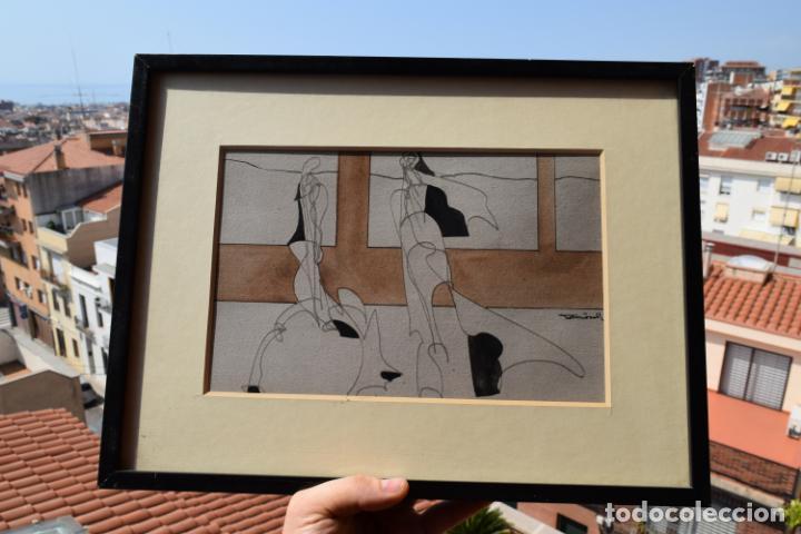 Arte: CUADRO OBRA ORIGINAL SOBRE PAPEL DEL ARTISTA PERECOLL , MATARÓ 1948 ENMARCADO MIDE 31,5 X 41,5 CM. - Foto 5 - 130089227