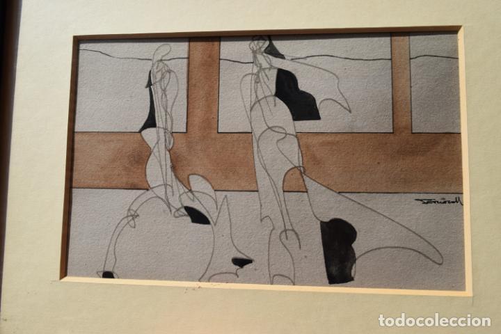 Arte: CUADRO OBRA ORIGINAL SOBRE PAPEL DEL ARTISTA PERECOLL , MATARÓ 1948 ENMARCADO MIDE 31,5 X 41,5 CM. - Foto 7 - 130089227