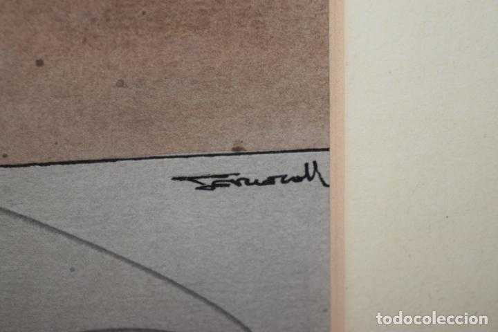 Arte: CUADRO OBRA ORIGINAL SOBRE PAPEL DEL ARTISTA PERECOLL , MATARÓ 1948 ENMARCADO MIDE 31,5 X 41,5 CM. - Foto 8 - 130089227