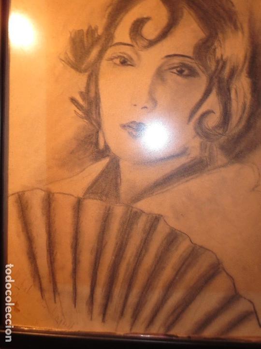 Arte: ALICANTINA CON ABANICO ANTIGUO DIBUJO ORIGINAL ALICANTE DEDICATORIA A RAQUEL FIRMA R. - Foto 11 - 130254158