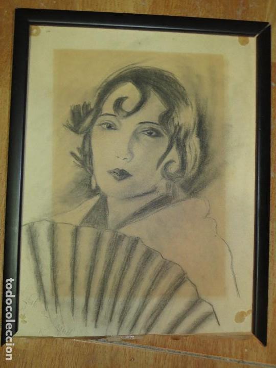 ALICANTINA CON ABANICO ANTIGUO DIBUJO ORIGINAL ALICANTE DEDICATORIA A RAQUEL FIRMA R. (Arte - Dibujos - Contemporáneos siglo XX)