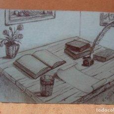 Arte: DIBUJO MESA DE ESTUDIO FIRMADO. Lote 130412586