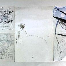 Arte: LOTE DE 3 ESBOZOS. TÉCNICA MIXTA SOBRE PAPEL. ALBERT GONZALO CARBÓ. CIRCA 2000.. Lote 130412730