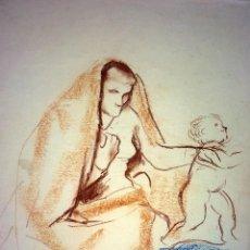 Arte: MATERNIDAD. DIBUJO. COLORES PASTEL. FIRMADO DOMINGO. ESPAÑA.(?). 1930. Lote 130424098