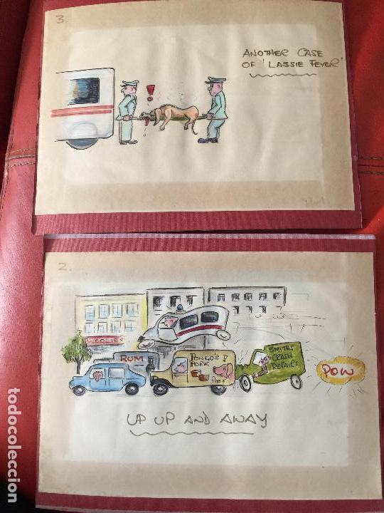 LOTE DE 2 DIBUJOS ORIGINALES DE LASSIE , COMIC , VIÑETAS (Arte - Dibujos - Contemporáneos siglo XX)