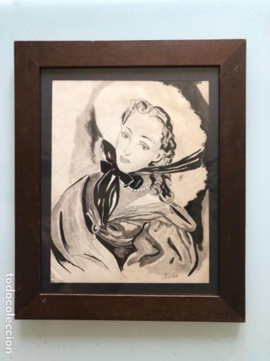 DIBUJO ORIGINAL A TINTA ACUARELADO FIRMADO PRUNA AÑOS 20-30 (Arte - Dibujos - Contemporáneos siglo XX)