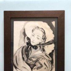 Arte: DIBUJO ORIGINAL A TINTA ACUARELADO FIRMADO PRUNA AÑOS 20-30. Lote 130575258