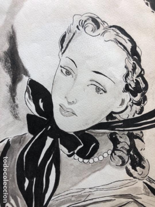 Arte: DIBUJO ORIGINAL A TINTA ACUARELADO FIRMADO PRUNA AÑOS 20-30 - Foto 5 - 130575258