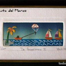 Arte: MINI CUADRO EN PAPEL ENMARCADO EN METAL. FIRMADO Y SERIADO. MARINA. Lote 131149808