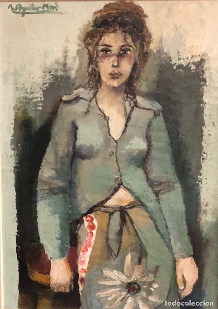 AGUILAR MORÉ - TÉCNICA MIXTA SOBRE MADERA - FIRMADA (Arte - Dibujos - Contemporáneos siglo XX)