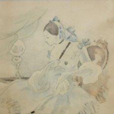 Arte: JOSEP PASCUAL OMS (1903 - 1977) TECNICA MIXTA SOBRE PAPEL. INTERIOR CON FIGURA. Lote 131310047
