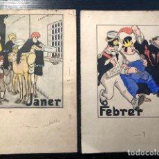 Arte: 12 DIBUJOS ORIGINALES JUNCEDA CALENDARI REVISTA METRALLA 1908 JUNCEDA. Lote 131654102