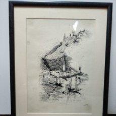 Arte: DIBUJO A TINTA PAISAJE, FIRMADO VILLALOBOS 89. Lote 36830185