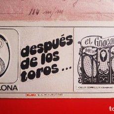 Arte: EL GUACAMAYO DISCOTECA. DIBUJO ORIGINAL PARA LA IMPRENTA. PUBLICIDAD DORSAL ENTRADAS TOROS PAMPLONA. Lote 131977550