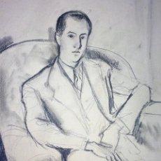 Arte: RETRATO DE CABALLERO.CARBONCILLO SOBRE PAPEL. FIRMADO (FRANCESC) DOMINGO. ESPAÑA.CIRCA 1930. Lote 132073918
