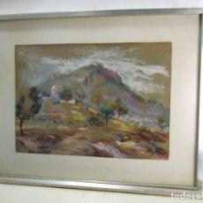 Arte: 2 CUADROS AL PASTEL FIRMADOS SANTIAGO RODRIGUEZ. Lote 132228846