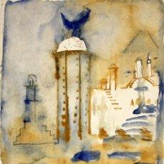 Arte: ROSA AGENJO (BARCELONA, 1955) TECNICA MIXTA SOBRE CARTULINA. TEMA ABSTRACTO. Lote 132352370