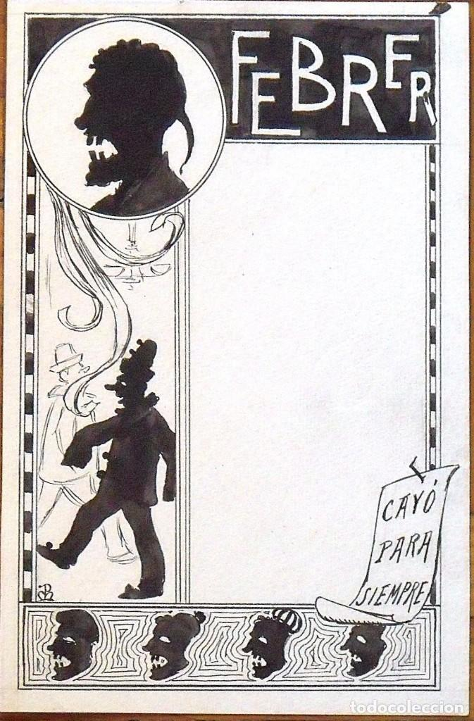 DIBUJO JOAN PELLICER MONTSENY. FEBRER. ESQUELLA DE LA TORRATXA. FIRMADO CON MONOGRAMA. (Arte - Dibujos - Modernos siglo XIX)