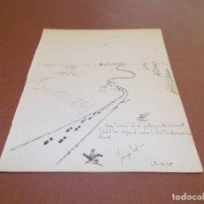 Arte: DIBUJO ORIGINAL Y DEDICATORIA FIRMADA POR JOSEP ESPRIU HERMANO DEL ESCRITOR SALVADOR ESPRIU AÑO 1935. Lote 132478214