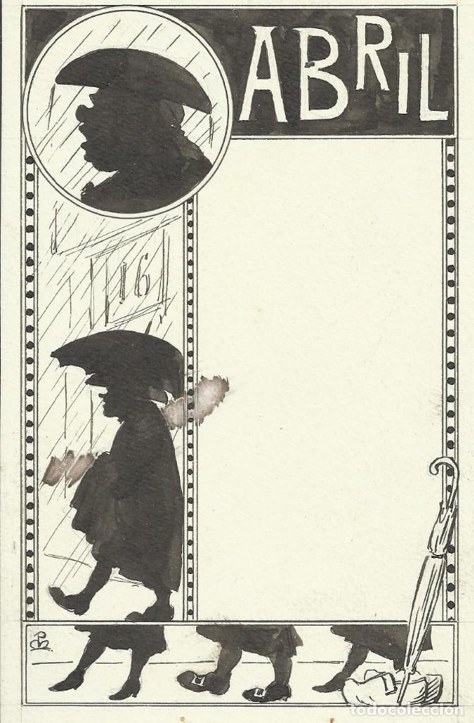 DIBUJO A TINTA JOAN PELLICER MONTSENY (1863-1914). ABRIL. PARA LA ESQUELLA DE LA TORRATXA. FIRMADO. (Arte - Dibujos - Modernos siglo XIX)