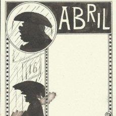 Arte: DIBUJO A TINTA JOAN PELLICER MONTSENY (1863-1914). ABRIL. PARA LA ESQUELLA DE LA TORRATXA. FIRMADO.. Lote 132564742