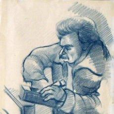 Arte: JOSÉ HUESO. DIBUJO CON LÁPIZ DE COLOR. CARPINTERO. FIRMADO A MANO. 1979. 28X20 CM. BUEN ESTADO.. Lote 133002850
