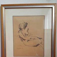 Arte: DIBUJO DESNUDO FEMENINO FIRMADO RIERA DANI 1975. Lote 133012394