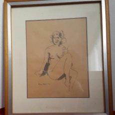 Arte: DIBUJO DESNUDO FEMENINO FIRMADO RIERA DANI 1975. Lote 133012546