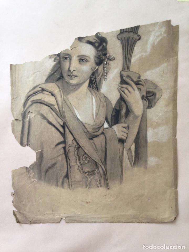 DIBUJO SIGLO XIX - ALEGORÍA - CARBONCILLO - DIBUJO ACADEMIA (Arte - Dibujos - Modernos siglo XIX)