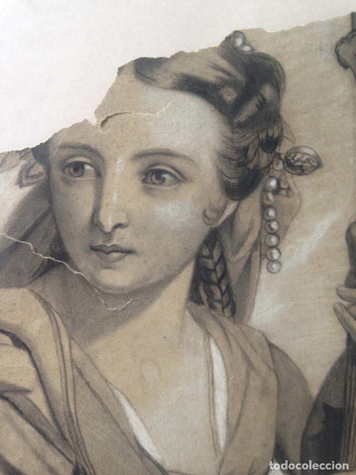 Arte: DIBUJO SIGLO XIX - ALEGORÍA - CARBONCILLO - DIBUJO ACADEMIA - Foto 3 - 133013678