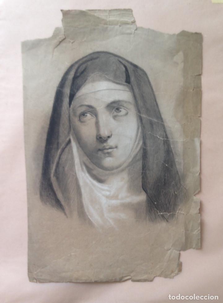 DIBUJO SIGLO XIX - CARBONCILLO - DIBUJO ACADEMIA (Arte - Dibujos - Modernos siglo XIX)
